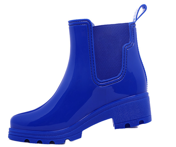 Ladies Ankle Wedge Rain Boots With Elastic
