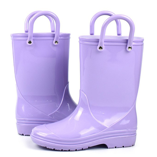Lambo Toddler Kids Rain Boots for Girls Boys with Easy-On Loop Handle purple