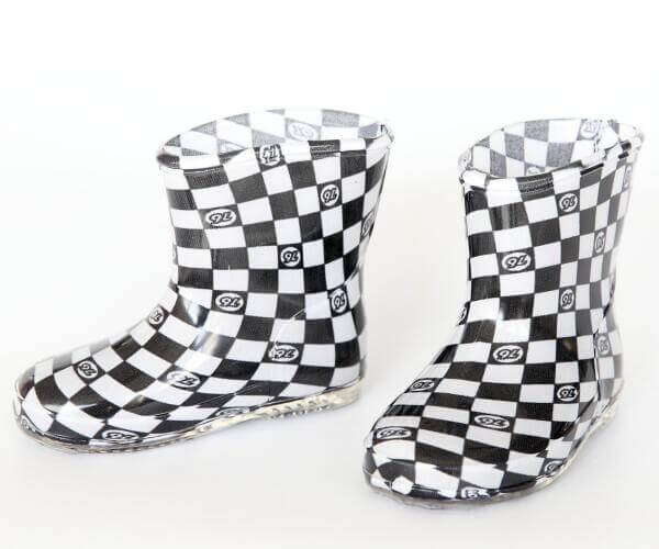 Transparent Children Rain boots for girls start print black and white