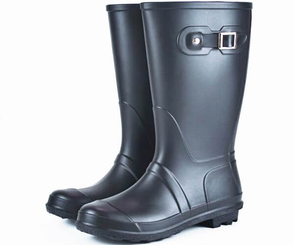 Women Tall Rubber Rain Boots Balck
