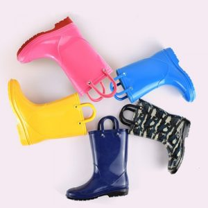 colorful Lambo Toddler Kids Rain Boots for Girls Boys with Easy-On Loop Handle