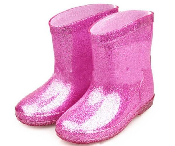 colorful cute baby rain boots glitter pink