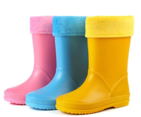 colorful kid's rain boots with warm inner