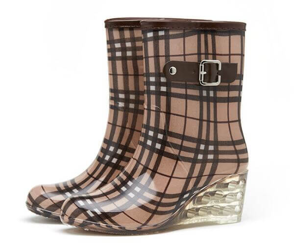 fashion wellies boots high heel printed