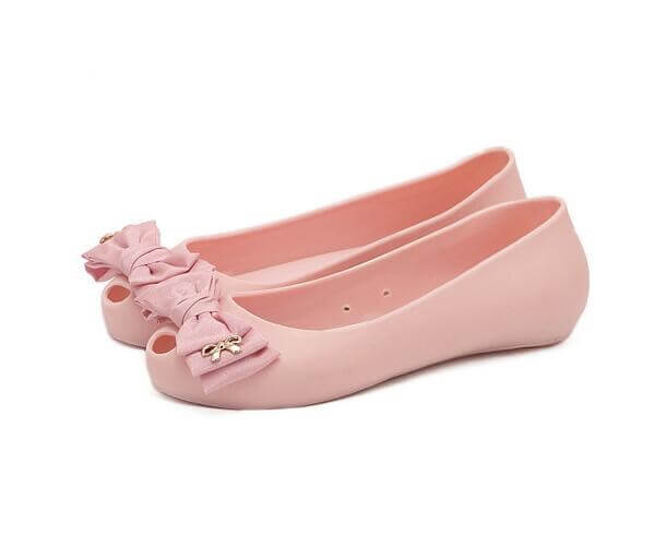 girls jelly shoes with bows pink