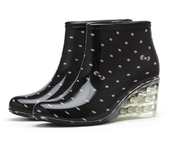 heeled rain boots pink flower