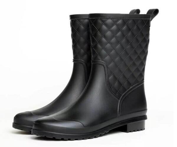 ladies fashion mid calf rain boots matt black wholesale front
