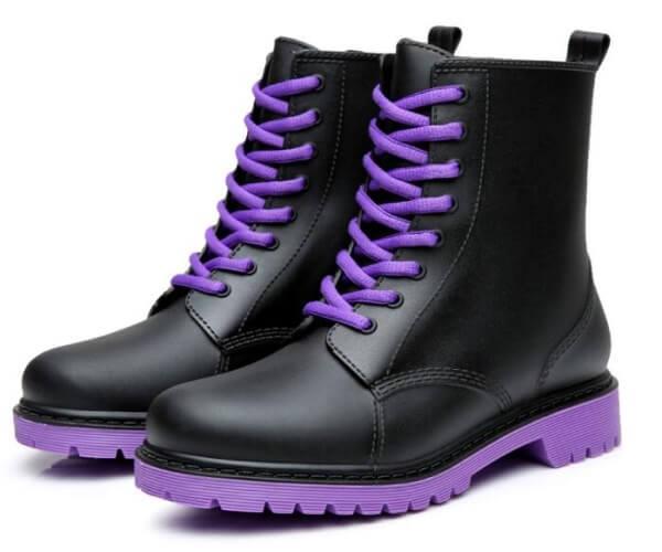 women lace up rain boots