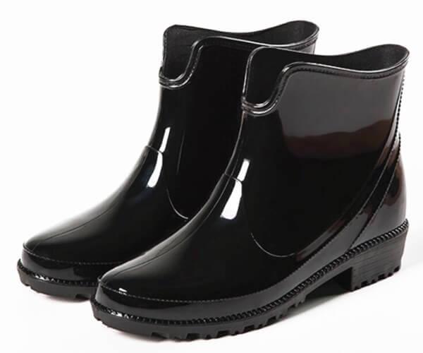 womens ankle rain boots black